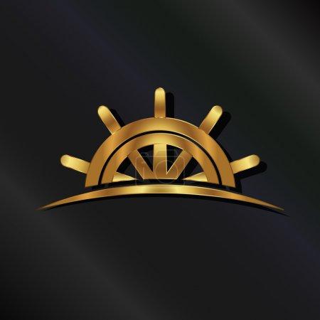 Golden Ship wheel marine logo