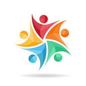 Teamwork of five happy people logo