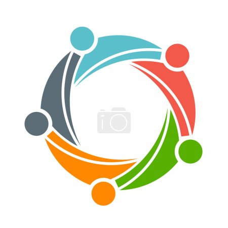 Family Team 5 happy people group logo