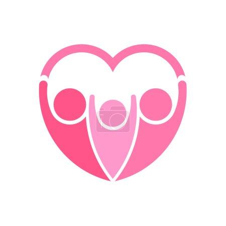 Pinky family logo vector. Heart shape
