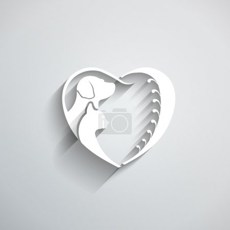 Dog Cat love heart vector illustration