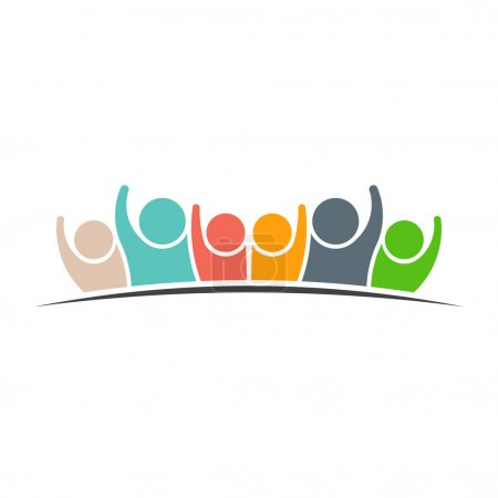 Illustration for Teamwork Six Friends logo icon. Concept of Group of People, happy team, victory - Royalty Free Image