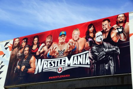 Wrestlemania 31 poster sign on side of McEnery Convention Center