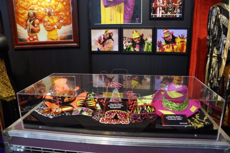 WWE Legend Macho Man outfit, hats, sunglasses and photo displays