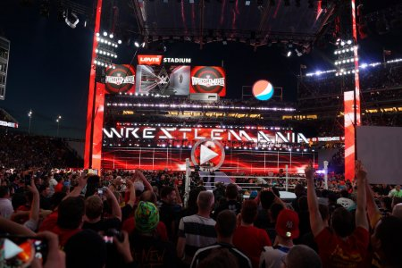 Fans cheer and record action on phones at close of Wrestlemania