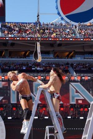 Dolph Ziggler falls off ladder