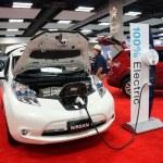 Постер, плакат: Electric Nissan Leaf car on display at the Motor Show exhibition