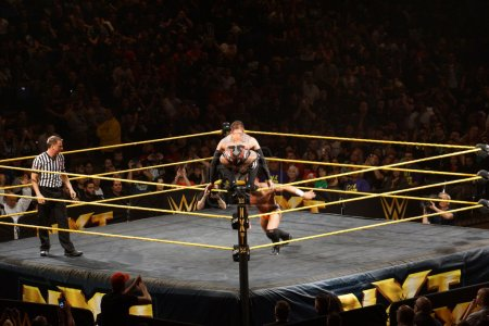 NXT male wrestler Finn Balor squats on top of ring ropes as Adri