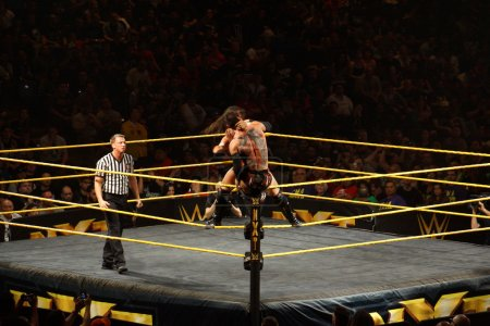 NXT male wrestler Finn Balor fights with Adrian Neville on ring