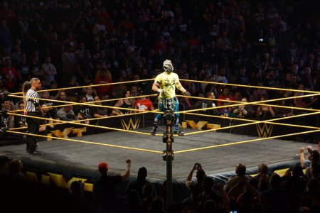 WWE NXT Superstar Kalisto stands on the ring ropes