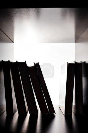 Silhouette of several books on the bookshelf