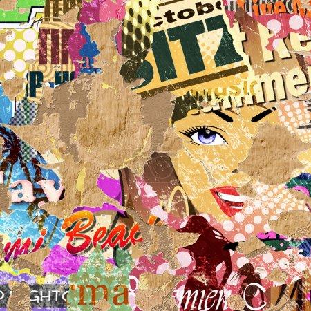 Photo pour Grunge Background with anciennes affiches et plâtre qui s'écaillent. -Une illustration avec des éléments photographiques. - image libre de droit