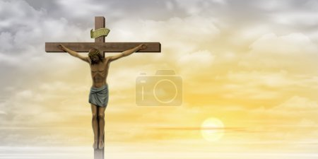 Photo for Jesus Christ on the Cross with Clouds and Misty Sunrise, Sunset. - Royalty Free Image