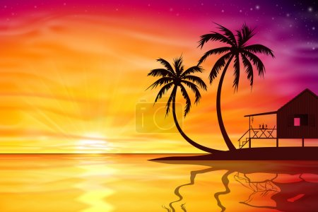 Illustration for A Beautiful Sunset, Sunrise with Palm Trees and Beach Nut - Vector EPS 10. - Royalty Free Image