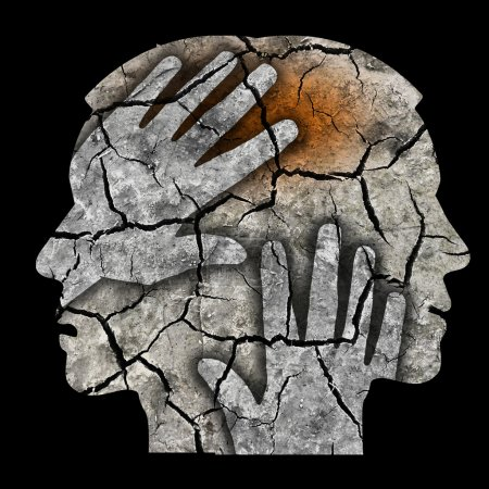 Photo for Man holding his head.Photo-montage with Dry cracked earth symbolizing schizophrenia Depression, Headache. - Royalty Free Image