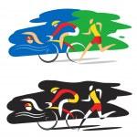 Stylized Illustration of Three triathlon athletes ...