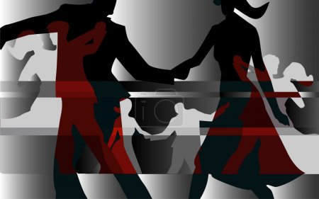 Illustration for Colorful background with silhouettes of dancing couples. Vector available - Royalty Free Image