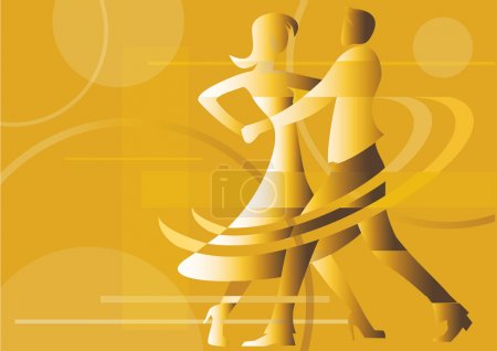 Illustration for Yellow  background with silhouettes of dancing couple. Vector available. - Royalty Free Image