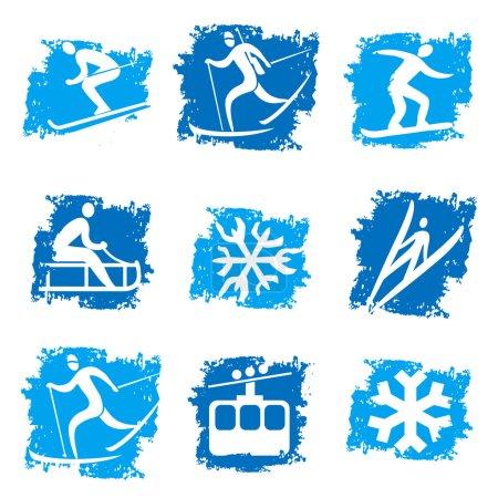 Winter sports grunge icons