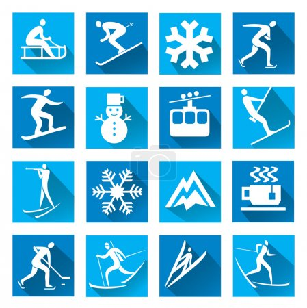 Winter sport blue web icons