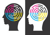 Head silhouettes with Labyrinth of print colors symbolizing successful solution of color printing Vector illustration
