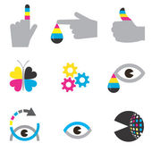 Colorful Icons of printing industry Concept for presenting color printingVector illustration