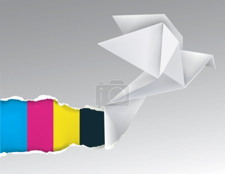 Illustration for Vector illustration of Origami flying pigeon ripping paper with print colors. Concept for presenting color printing press. - Royalty Free Image