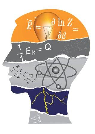 Physics student head slilhouette