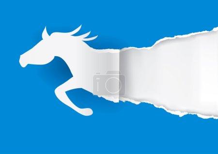 Illustration pour Silhouette en papier de cheval de course déchirant fond de papier coloré avec place pour votre texte ou image.Illustration vectorielle . - image libre de droit