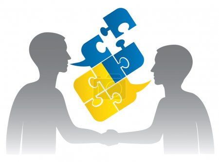 Illustration for Two men silhouettes shake hand and Puzzle bubble talk with a Ukrainian flag symbolizing Ukrainian conversation or bad political dialog and conflict. Vector illustration. - Royalty Free Image