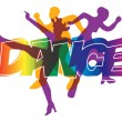 Disco and modern dancing Dancers silhouettes on th...