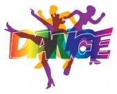 Disco and modern dancing Dancers silhouettes on the colorful  inscription Dance Vector illustration