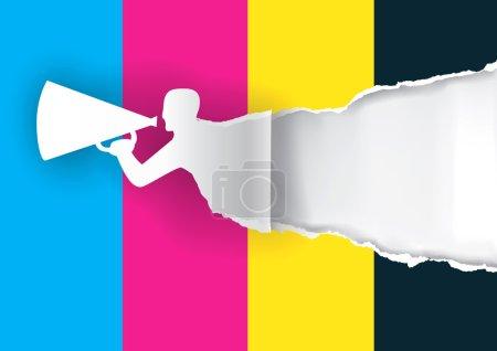Illustration pour Papier silhouette masculine annonce l'impression couleur avec mégaphone avec place pour votre texte ou image. Concept de présentation de presse à imprimer papier ou couleur. Illustration vectorielle . - image libre de droit