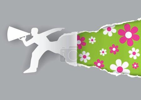 Illustration pour Silhouette mâle en papier annonce le printemps avec mégaphone. Modèle pour une publicité originale.. Illustration vectorielle . - image libre de droit