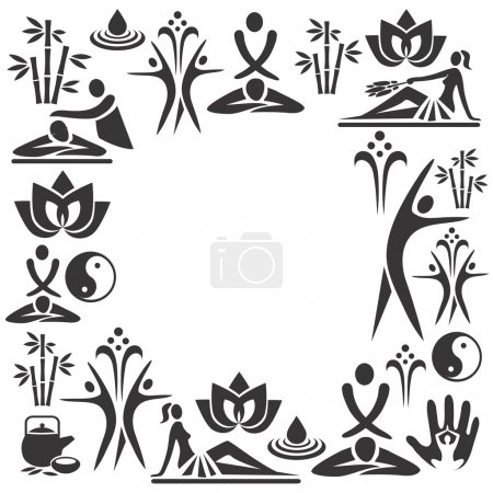 Illustration for Decorative frame with black icons of massage and spa. Vector illustration. - Royalty Free Image