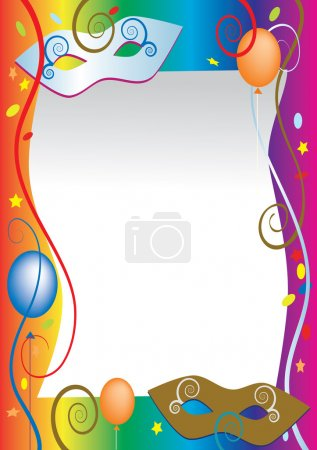 Illustration for Vector background for carnival and party invitation cards with colored balloons and confetti - Royalty Free Image
