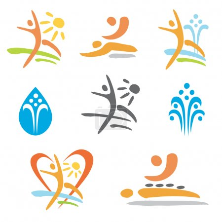 Spa massage nudism icons