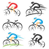 Six modern stylized colorful and black symbols of sport cyclist Vector illustration