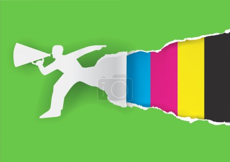 Illustration for Paper male silhouette advertises color printing with megaphone with place for your text or image. Concept for presenting of paper or color printing press. Vector illustration. - Royalty Free Image