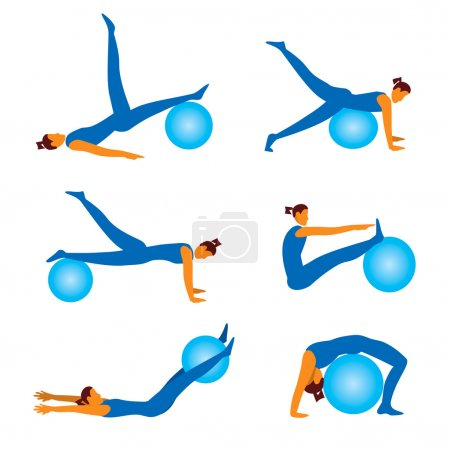 Fitness exercises with ball icons
