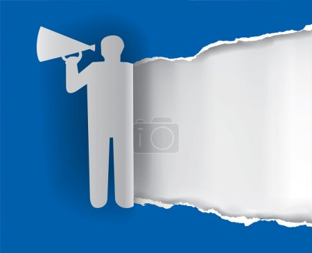 Man advertises or sells shouts in a megaphone with...