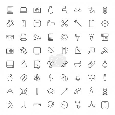 Thin Line Icons For Technology, Industry and Science
