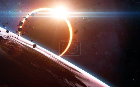 Photo pour Scientifique abstrait - rougeoyante planète terre dans l'espace, l'éclipse solaire, nébuleuse et étoiles. Éléments de cette image fournie par la Nasa - image libre de droit