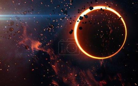 Photo pour Éclipse solaire au-dessus une nébuleuse. Éléments de cette image fournie par la Nasa - image libre de droit