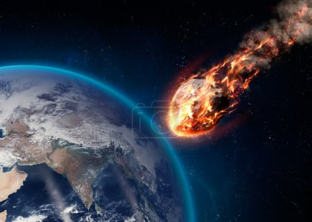 Photo for A Meteor glowing as it enters the Earths atmosphere. Elements of this image furnished by NASA - Royalty Free Image