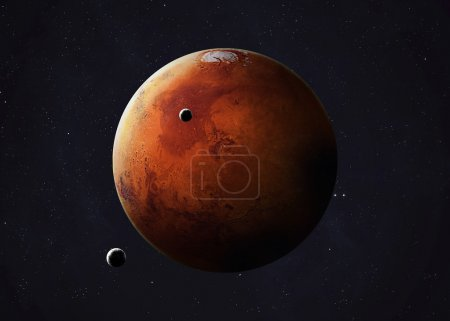 Colorful picture represents Mars and its moons. El...