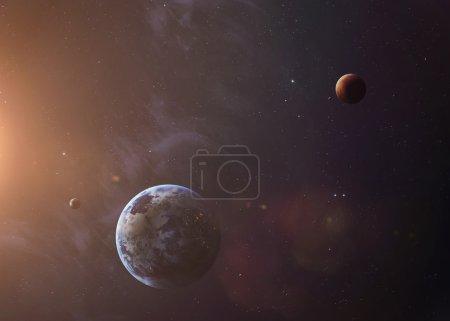 Photo pour La terre et Mars depuis l'espace, tout ce qu'ils montrant la beauté. Image très détaillée, y compris les éléments fournis par la Nasa. Autres orientations et planètes disponibles - image libre de droit