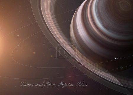 The Saturn with moons from space showing all they beauty. Extremely detailed image, including elements furnished by NASA. Other orientations and planets available.