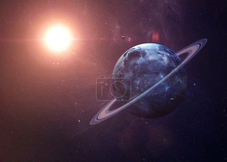 Photo pour L'Uranus avec des lunes tirées de l'espace montrant toute leur beauté. Image extrêmement détaillée, y compris les éléments fournis par la Nasa. Autres orientations et planètes disponibles - image libre de droit
