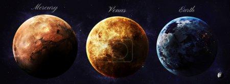 Photo pour Le système solaire planètes de l'espace montrant toute leur beauté. Image extrêmement détaillée, y compris des éléments fournis par la NASA. Autres orientations et planètes disponibles - image libre de droit